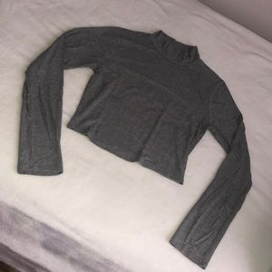 Tops - Grey Cropped Turtlenck Top